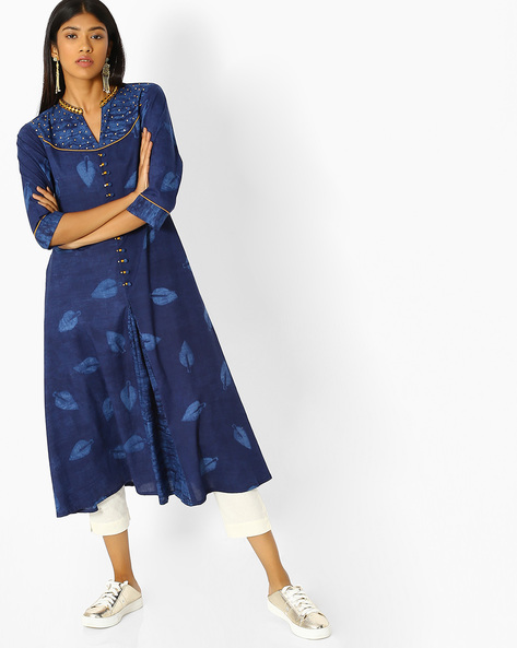 Printed Kurta With Sequins & Embroidery By Shree ( Blue )