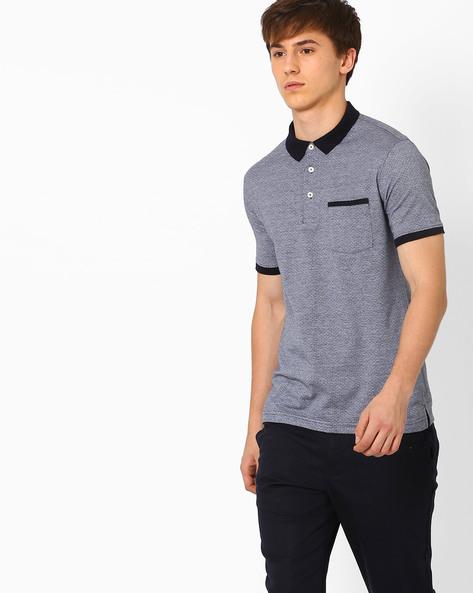 Pattern Weave Polo T-shirt By NETPLAY ( Ltgrey )