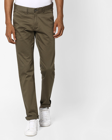 Tapered Fit Stretch Chinos By BASICS ( Green )