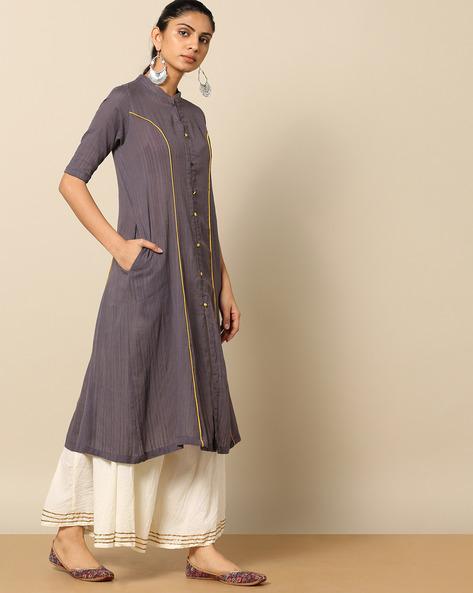 Princess Seam Dobby Cotton Kurta With Pockets By Indian Dobby ( Carbone )