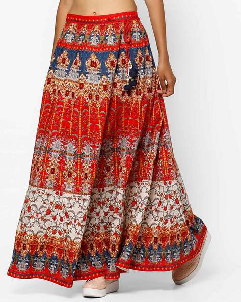 Printed Maxi Skirt With Drawstring By Shree ( Red )