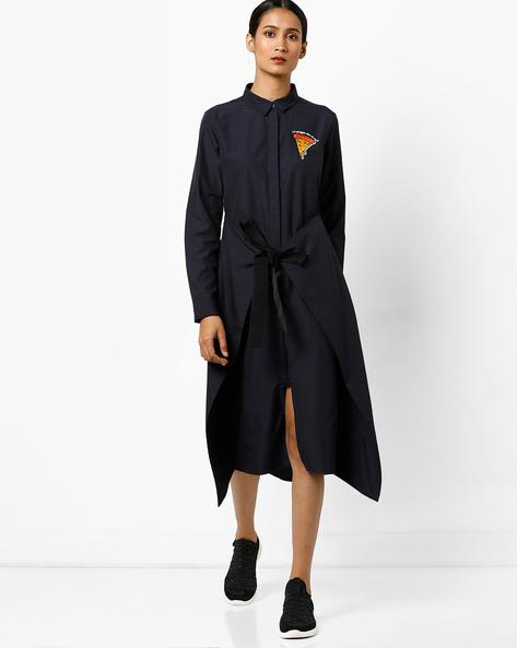 Shirt Dress With Tie-Up By AJIO ( Navy )