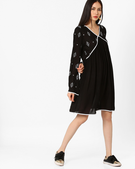 Panelled A-line Dress With Embroidery By Rena Love ( Black )