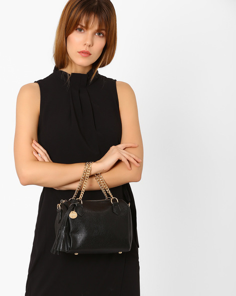 Textured Barrel Handbag By Lino Perros ( Black )