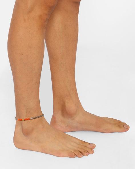 Beaded Adjustable Anklet By Alto Vida ( Grey )