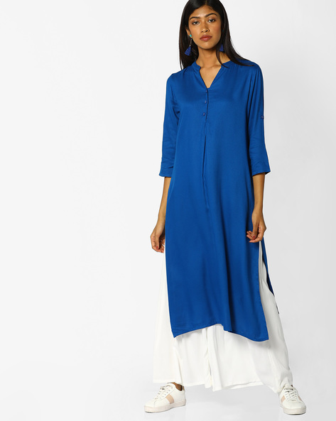 Straight Kurta With Button Placket By Melange By Lifestyle ( Blue )
