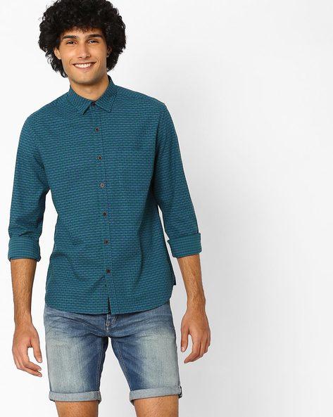 Slim Fit Yarn-Dyed Dobby Shirt By AJIO ( Green )