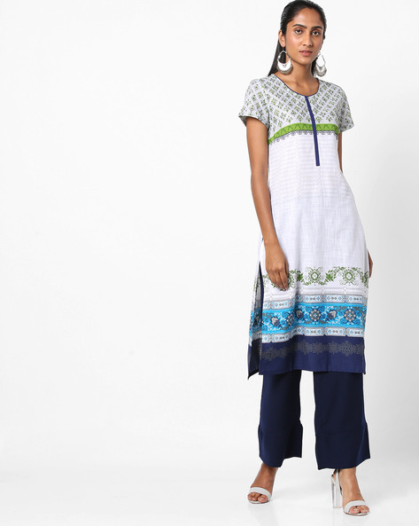 Printed Cotton Straight Kurta By AURELIA ( White )