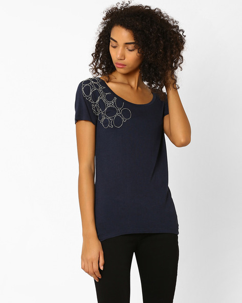 Top With Embellishments By Lotus Threads ( Navyblue )