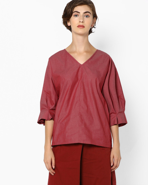 V-neck Top With Voluminous Sleeves By AJIO ( Red )