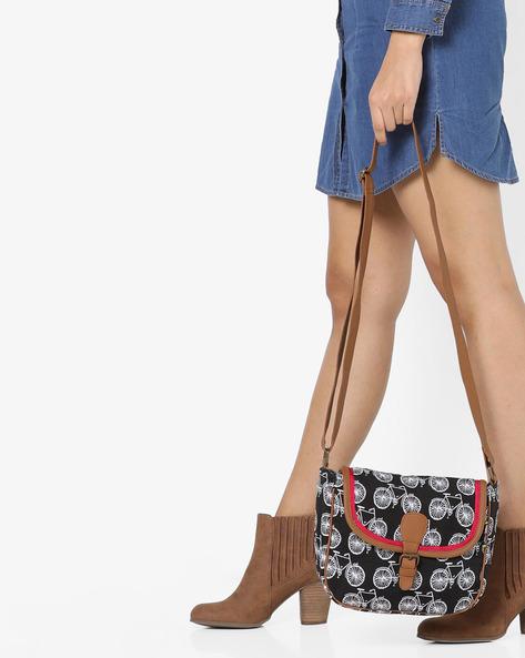 Jacquard Canvas Sling Bag By Kanvas Katha ( Black )