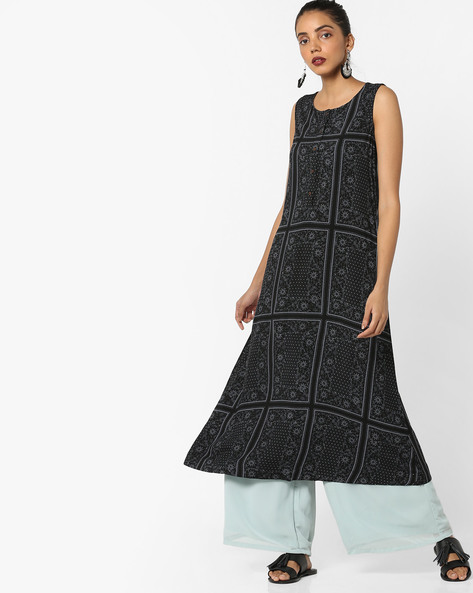 Printed Sleeveless Kurta By Project Eve IW Casual ( Black )