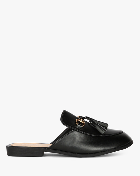 Mule Shoes With Tassels By Truffle Collection ( Black )