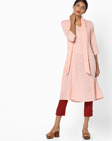 Dobby-Weave Kurta With Tie-Up Neck By AJIO ( Blush )