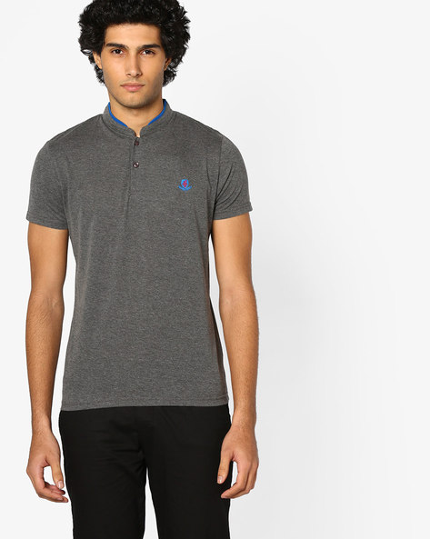 Cotton T-shirt With Mandarin Collar By The Indian Garage Co ( Darkgrey )