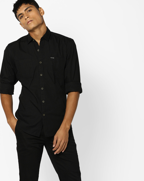 Cotton Shirt With Patch Pockets By WRANGLER ( Black )