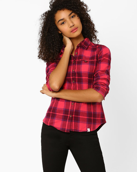 Checked Shirt With Curved Hem By DNM X ( Pink )