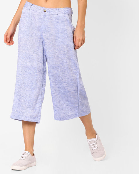 Flat-Front Culottes By AJIO ( Lightblue )