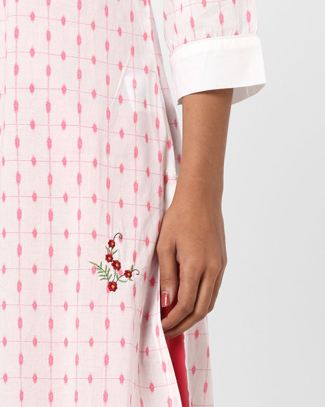Printed Straight Kurta With Contrast Cuffs By AJIO ( Coral )