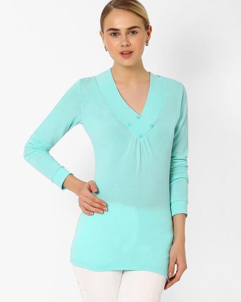 V-Neck Pullover By AJIO ( Seagreen )