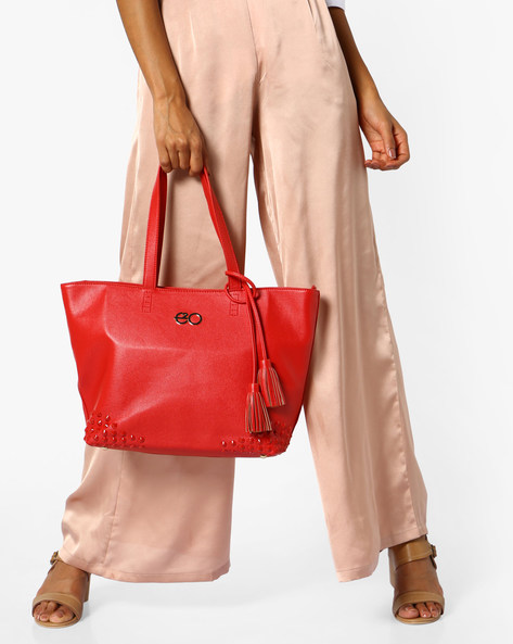 Studded Tote Bag With Tassels By E2O ( Red )
