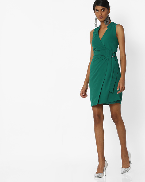 Mini Dress With Surplice Neckline By Femella ( Green )