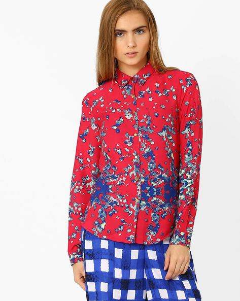 Printed Shirt With Button Cuffs By AJIO ( Pink )