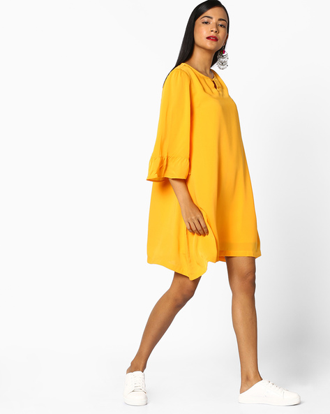 A-line Dress With Tie-Ups By AJIO ( Yellow )