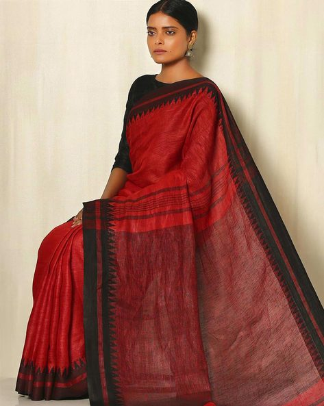 Handwoven Linen Saree With Cotton Contrast Border By Indie Picks ( Orange )