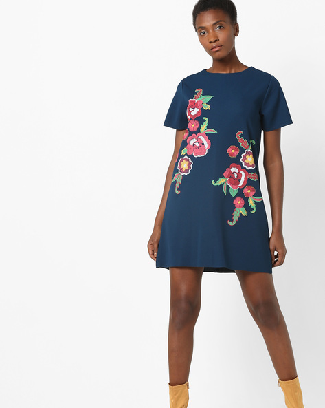 Floral Embroidered Shift Dress By AJIO ( Navy )