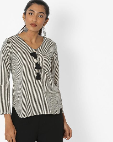 Striped Tunic With Patch Pocket By Desi Fusion ( Beige )