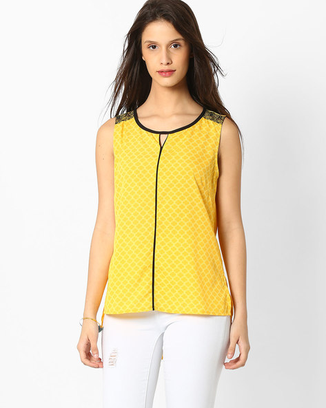 Printed Sleeveless Kurti With High-Low Hemline By AURELIA ( Yellow )