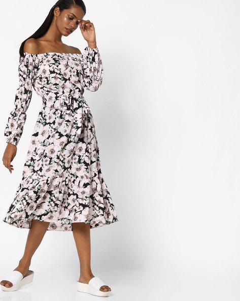 Off-Shoulder Floral Print Fit & Flare Dress By Sassafras ( Black )