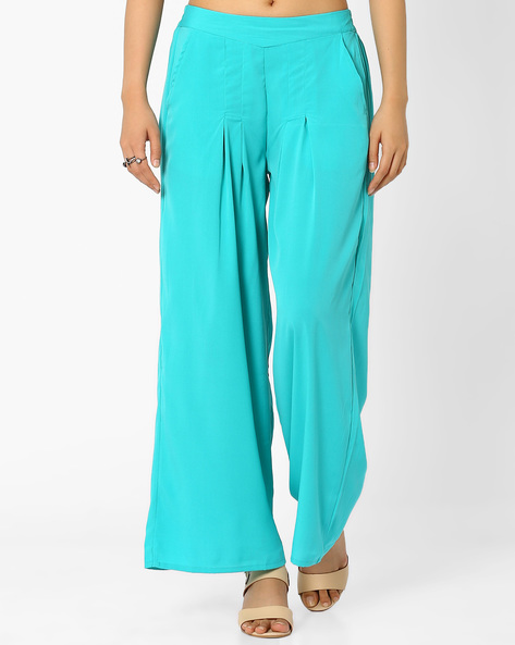 Pleated Palazzo Pants By AURELIA ( Blue )