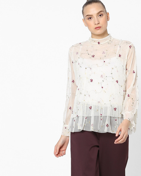 High-Neck Sheer Top With Floral Embroidery By Ginger By Lifestyle ( Cream )