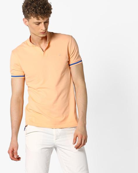Pique Knit Cotton T-shirt By UNITED COLORS OF BENETTON ( Peach )
