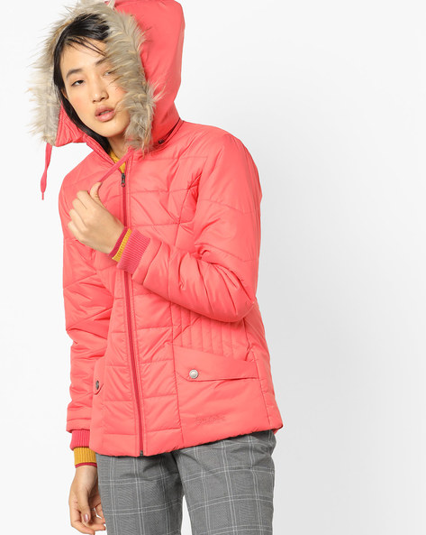 Hooded Quilted Jacket By Fort Collins ( Orange )