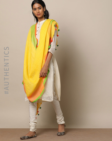 Handloom Linen Dupatta With Pom-Pom Detail By Indie Picks ( Yellow )