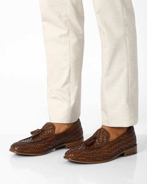 Basket-Weave Genuine Leather Slip-Ons By Hats Off Accessories ( Darkbrown )