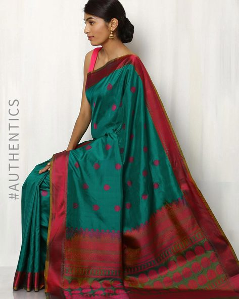 Handwoven Pure Silk Saree By Rudrakaashe-MSU ( Seagreen )