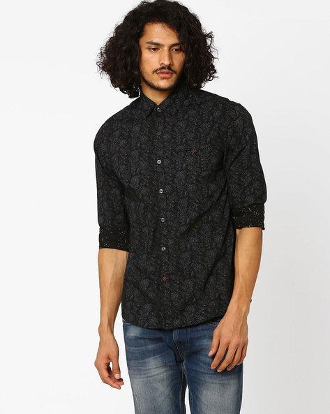 Floral Print Shirt By NETPLAY ( Black )
