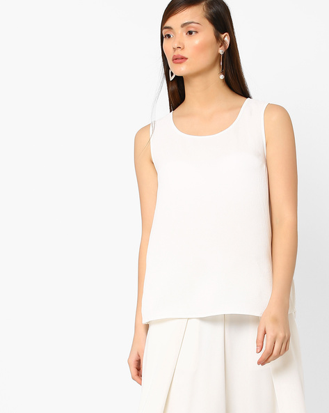 High-Low Racerback Top With Lace By AJIO ( White )