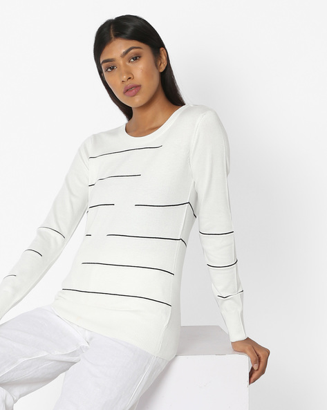 Striped Top With Ribbed Hems By Teamspirit ( Offwhite )