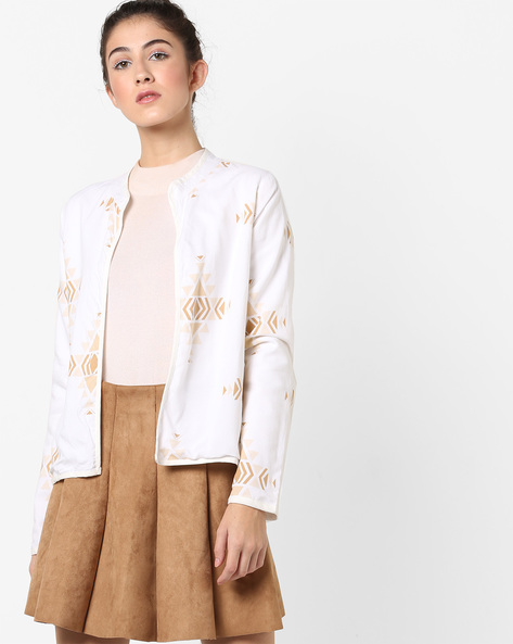 Geometric Print Front-Open Jacket By AJIO ( Offwhite )