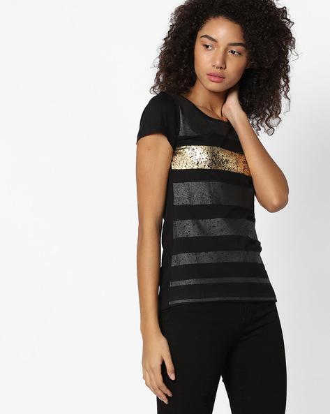 Printed Striped T-shirt By TEAM SPIRIT ( Black )