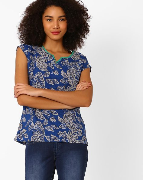 Floral Print Top With Cap Sleeves By AJIO ( Indigo )