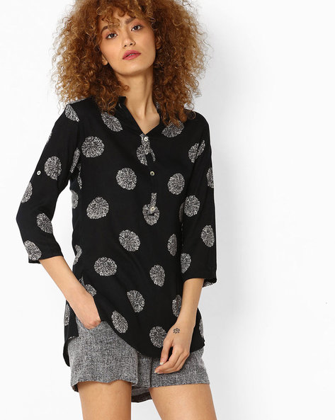 Printed Tunic With Button Placket By SOCH ( Black )