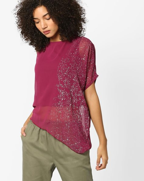One-Sleeve Sheer Top With Speckled Print By AJIO ( Burgundy )