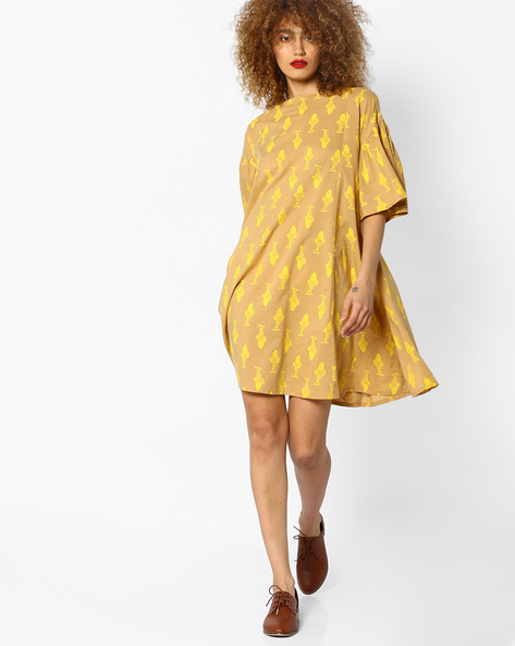 Printed Dress With Flared Sleeves By AJIO ( Beige )
