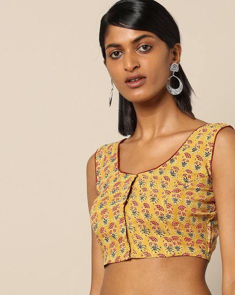 Ajrak Print Sleeveless Cotton Front-Open Blouse By Molcha ( Yellow )